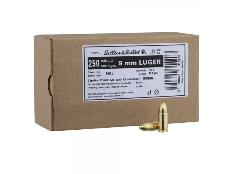 S&B 9mm Luger FMJ 124grs. 250 St.